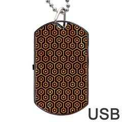 Hexagon1 Black Marble & Orange Marble Dog Tag Usb Flash (two Sides) by trendistuff