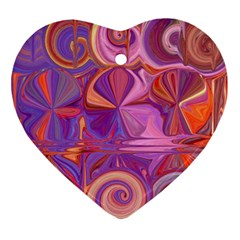 Candy Abstract Pink, Purple, Orange Ornament (heart)  by digitaldivadesigns