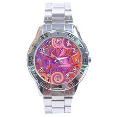 Candy Abstract Pink, Purple, Orange Stainless Steel Analogue Watch by theunrulyartist