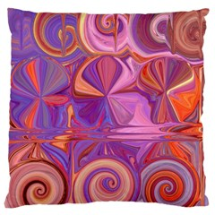 Candy Abstract Pink, Purple, Orange Large Cushion Case (one Side) by theunrulyartist