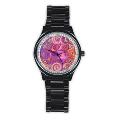 Candy Abstract Pink, Purple, Orange Stainless Steel Round Watch by digitaldivadesigns