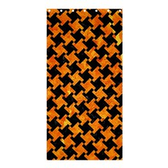Houndstooth2 Black Marble & Orange Marble Shower Curtain 36  X 72  (stall)