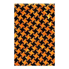 Houndstooth2 Black Marble & Orange Marble Shower Curtain 48  X 72  (small) by trendistuff