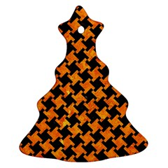 Houndstooth2 Black Marble & Orange Marble Christmas Tree Ornament (two Sides) by trendistuff