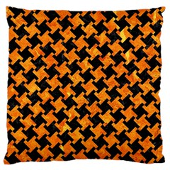 Houndstooth2 Black Marble & Orange Marble Large Cushion Case (one Side) by trendistuff