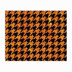 Houndstooth1 Black Marble & Orange Marble Small Glasses Cloth (2 Sides) by trendistuff