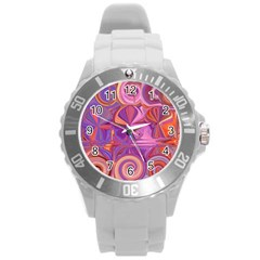 Candy Abstract Pink, Purple, Orange Round Plastic Sport Watch (l) by theunrulyartist