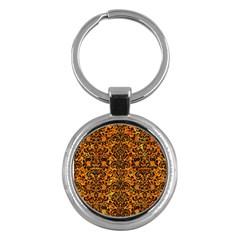 Damask2 Black Marble & Orange Marble (r) Key Chain (round) by trendistuff