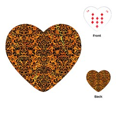 Damask2 Black Marble & Orange Marble (r) Playing Cards (heart) by trendistuff