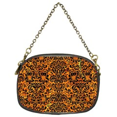 Damask2 Black Marble & Orange Marble (r) Chain Purse (one Side) by trendistuff