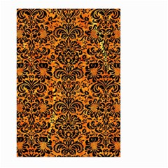 Damask2 Black Marble & Orange Marble (r) Large Garden Flag (two Sides) by trendistuff
