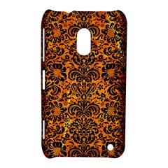Damask2 Black Marble & Orange Marble (r) Nokia Lumia 620 Hardshell Case by trendistuff