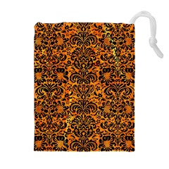 Damask2 Black Marble & Orange Marble (r) Drawstring Pouch (xl) by trendistuff