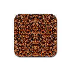 Damask2 Black Marble & Orange Marble Rubber Square Coaster (4 Pack) by trendistuff