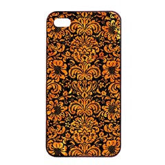 Damask2 Black Marble & Orange Marble Apple Iphone 4/4s Seamless Case (black) by trendistuff