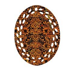 Damask2 Black Marble & Orange Marble Ornament (oval Filigree) by trendistuff