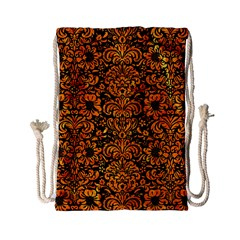 Damask2 Black Marble & Orange Marble Drawstring Bag (small) by trendistuff
