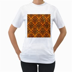 Damask1 Black Marble & Orange Marble (r) Women s T Shirt (white) (two Sided) by trendistuff