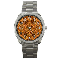Damask1 Black Marble & Orange Marble (r) Sport Metal Watch by trendistuff