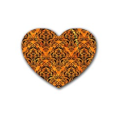 Damask1 Black Marble & Orange Marble (r) Rubber Heart Coaster (4 Pack) by trendistuff