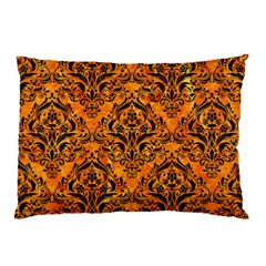 Damask1 Black Marble & Orange Marble (r) Pillow Case (two Sides) by trendistuff