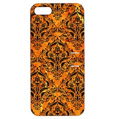 Damask1 Black Marble & Orange Marble (r) Apple Iphone 5 Hardshell Case With Stand by trendistuff
