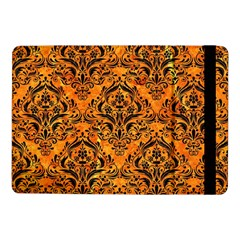 Damask1 Black Marble & Orange Marble (r) Samsung Galaxy Tab Pro 10 1  Flip Case by trendistuff
