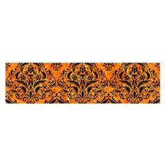 Damask1 Black Marble & Orange Marble (r) Satin Scarf (oblong) by trendistuff