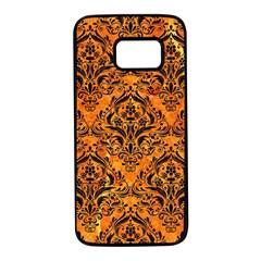 Damask1 Black Marble & Orange Marble (r) Samsung Galaxy S7 Black Seamless Case