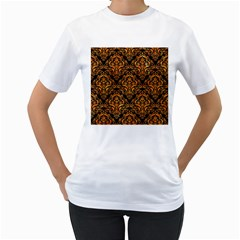 Damask1 Black Marble & Orange Marble Women s T Shirt (white) (two Sided) by trendistuff