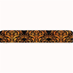 Damask1 Black Marble & Orange Marble Small Bar Mat by trendistuff