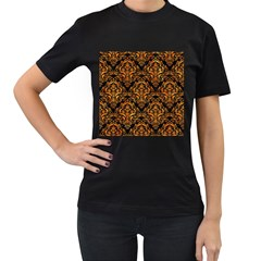 Damask1 Black Marble & Orange Marble Women s T Shirt (black) by trendistuff