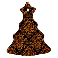 Damask1 Black Marble & Orange Marble Christmas Tree Ornament (two Sides) by trendistuff