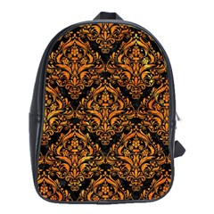 Damask1 Black Marble & Orange Marble School Bag (xl) by trendistuff