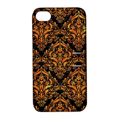 Damask1 Black Marble & Orange Marble Apple Iphone 4/4s Hardshell Case With Stand by trendistuff