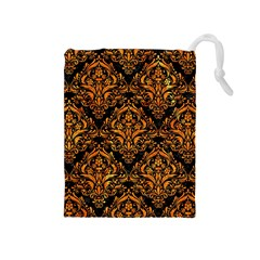 Damask1 Black Marble & Orange Marble Drawstring Pouch (medium) by trendistuff