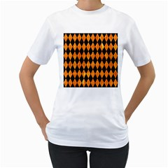 Diamond1 Black Marble & Orange Marble Women s T Shirt (white) (two Sided) by trendistuff