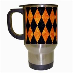 Diamond1 Black Marble & Orange Marble Travel Mug (white) by trendistuff