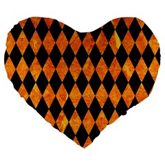 Diamond1 Black Marble & Orange Marble Large 19  Premium Flano Heart Shape Cushion by trendistuff