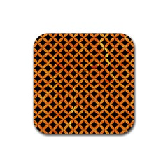 Circles3 Black Marble & Orange Marble Rubber Square Coaster (4 Pack) by trendistuff