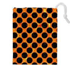 Circles2 Black Marble & Orange Marble (r) Drawstring Pouch (xxl) by trendistuff
