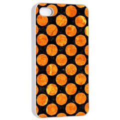 Circles2 Black Marble & Orange Marble Apple Iphone 4/4s Seamless Case (white) by trendistuff