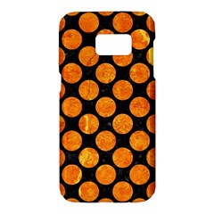 Circles2 Black Marble & Orange Marble Samsung Galaxy S7 Hardshell Case