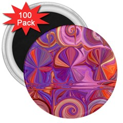 Candy Abstract Pink, Purple, Orange 3  Magnets (100 Pack) by theunrulyartist