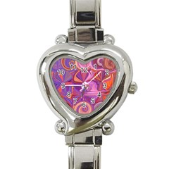Candy Abstract Pink, Purple, Orange Heart Italian Charm Watch by theunrulyartist