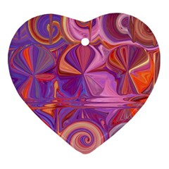 Candy Abstract Pink, Purple, Orange Heart Ornament (2 Sides) by theunrulyartist