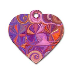 Candy Abstract Pink, Purple, Orange Dog Tag Heart (one Side) by theunrulyartist