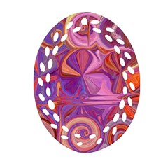 Candy Abstract Pink, Purple, Orange Oval Filigree Ornament (2-Side)  by theunrulyartist