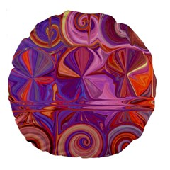 Candy Abstract Pink, Purple, Orange Large 18  Premium Round Cushions by digitaldivadesigns