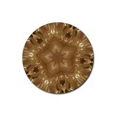 Elegant Gold Brown Kaleidoscope Star Rubber Round Coaster (4 Pack)  by yoursparklingshop